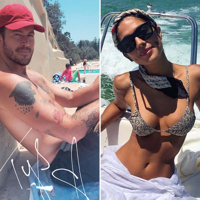 Pia Miller enjoys the sun with her fiancé