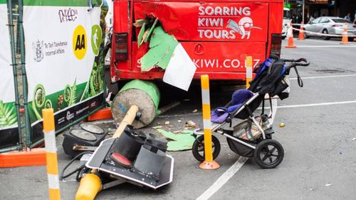 An abandoned pram could be seen at the back of the crashed bus.