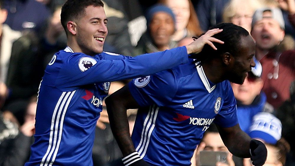 Eden Hazard and Victor Moses were among Chelsea's best. (AAP)