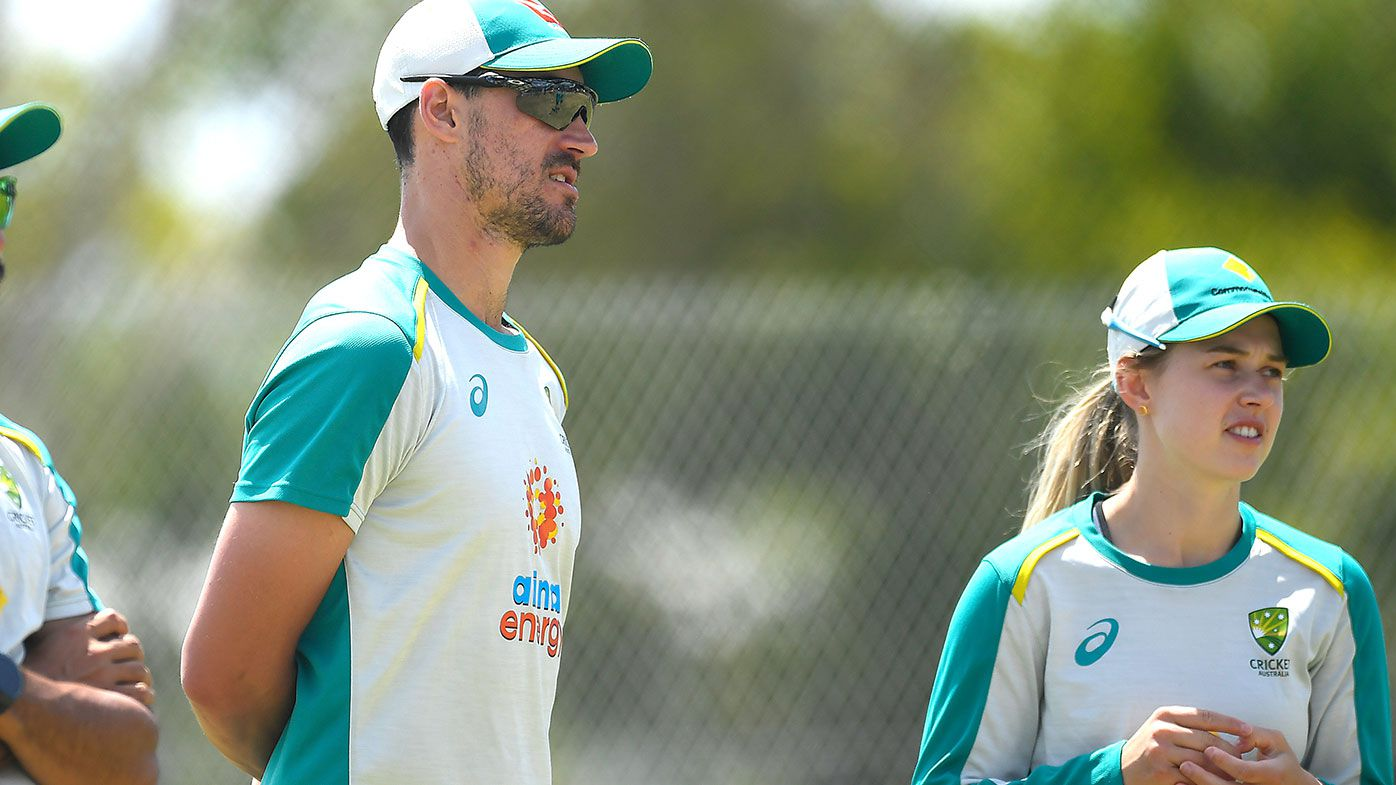 Mitchell Starc is seen during an Australian One Day International team training session at Great Barrier Reef Arena on September 23, 2021 in Mackay, Australia. (Photo by Albert Perez/Getty Images)