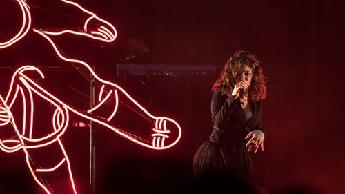 Lorde performing in Sant Jordi Club in Barcelona on her Melodrama tour. (AAP)