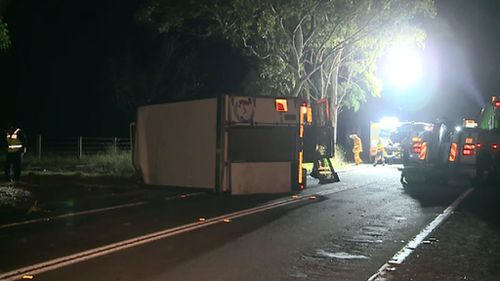 Emergency services at the scene on Appin Road. (9NEWS)