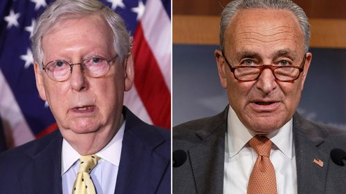 Senators Mitch McConnell (left) and Chuck Schumer (right) are among those being sworn in for the second Trump impeachment trial.
