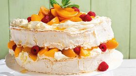 Peach and raspberry pavlova