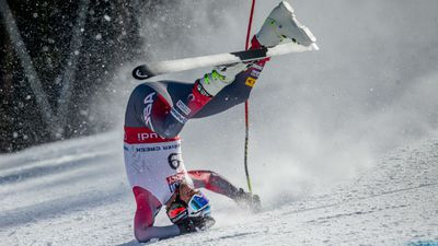 """The athlete crashed head first into the ground and onto his back, sparking concern as the skier is still recovering from back surgery.  His participation in the World Championships had been widely anticipated as his """"comeback"""". (AAP)"""