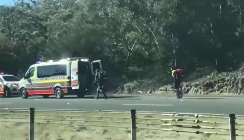 Paramedics rushed to the man's aid following the crash. Picture: Supplied.