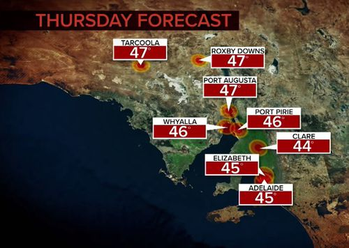 SA is set to swelter on Thursday.