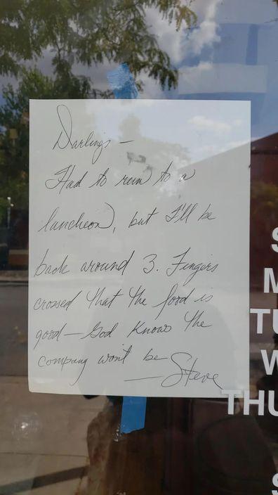 Shopkeeper's curt note