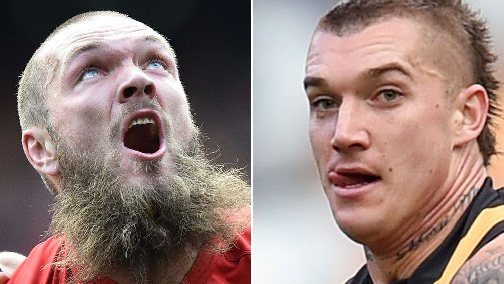 Demons ruckman Max Gawn and Richmond superstar Dustin Martin. (AAP)