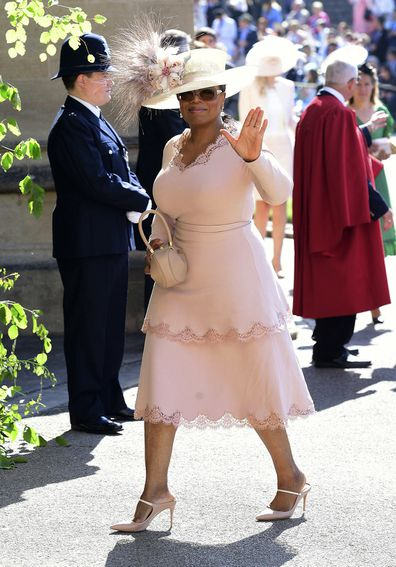 Oprah arrives at St George's Chapel at Windsor Castle for the wedding of Meghan Markle and Prince Harry.