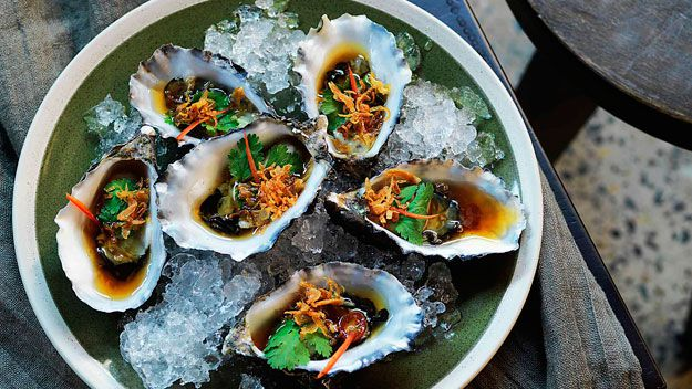 Pacific oysters with sweet soy and ginger