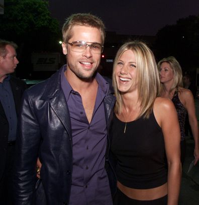 "Brad Pitt and Jennifer Aniston at the premiere of ""Rock Star"" at the Mann Village Theater in Los Angeles."