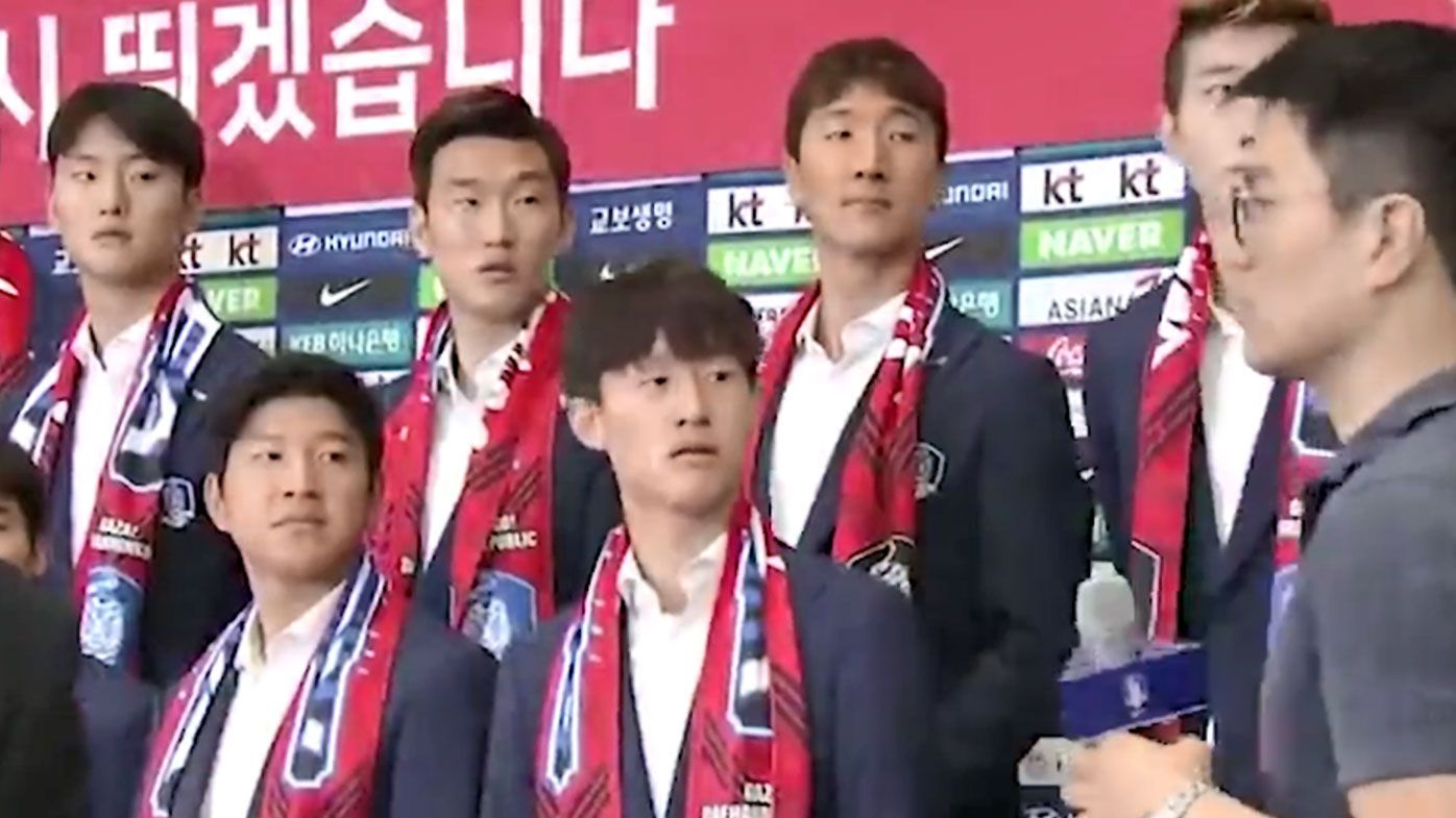 South Korean team pelted with eggs upon bizarre World Cup return press conference