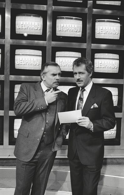 """What is... Cliff Clavin?"" Episode 14 --Pictured: (l-r) John Ratzenberger as Cliff Clavin, Alex Trebek as Himself-- Photo by: Kim Gottlieb-Walker/NBCU Photo Bank"
