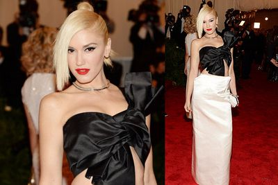 Gwen Stefani rocks a fringe in custom Maison Martin Margiela on arrival for the MET Gala in NYC.