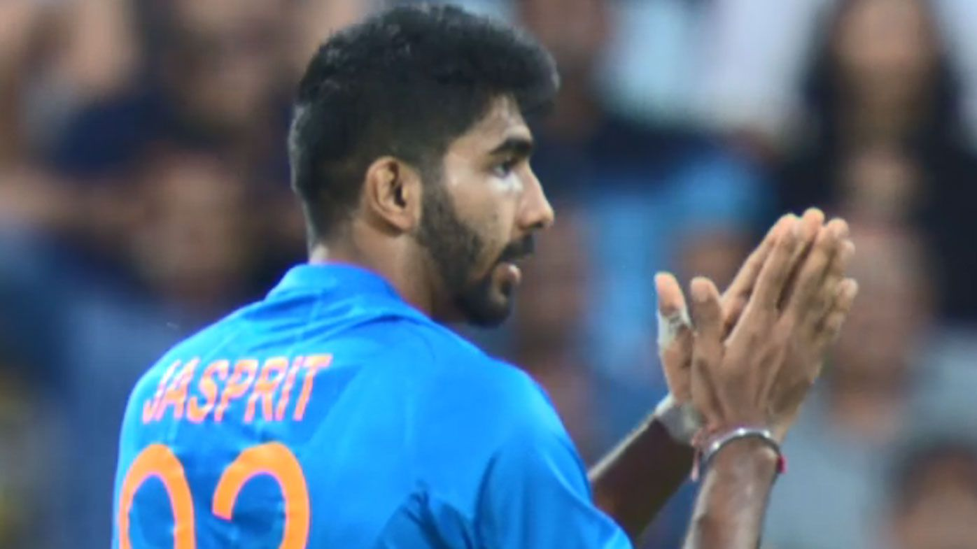 Indian paceman Jasprit Bumrah applauds Virat Kohli's dropped catch off his bowling