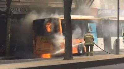 Lucky escape for commuters after bus catches fire