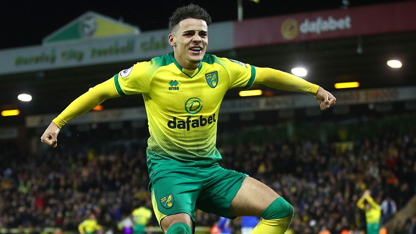 Max Aarons of Norwich City celebrates after Jamal Lewis scores his sides first goal