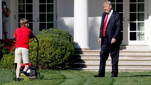 'Great job,' Trump tells 11-year-old boy mowing White House lawn