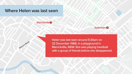 Map of where Sydney school Helen Karipidis girl was last seen.