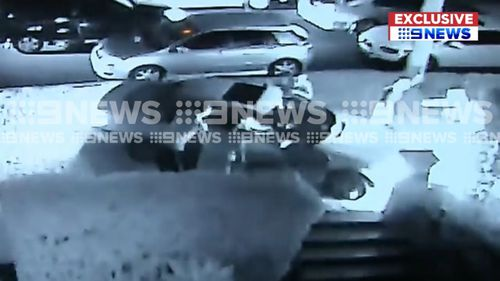 The fifth car then ploughs into the nature strip. (9NEWS)