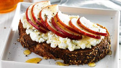 """Recipe: <a href=""""http://kitchen.nine.com.au/2017/07/03/13/31/pear-ricotta-toast"""" target=""""_top"""">Pear and ricotta toast</a><br /> <br /> More: <a href=""""http://kitchen.nine.com.au/2016/07/26/09/34/healthy-snacks-for-in-between-meal-cravings"""" target=""""_top"""">healthy snack ideas</a>"""