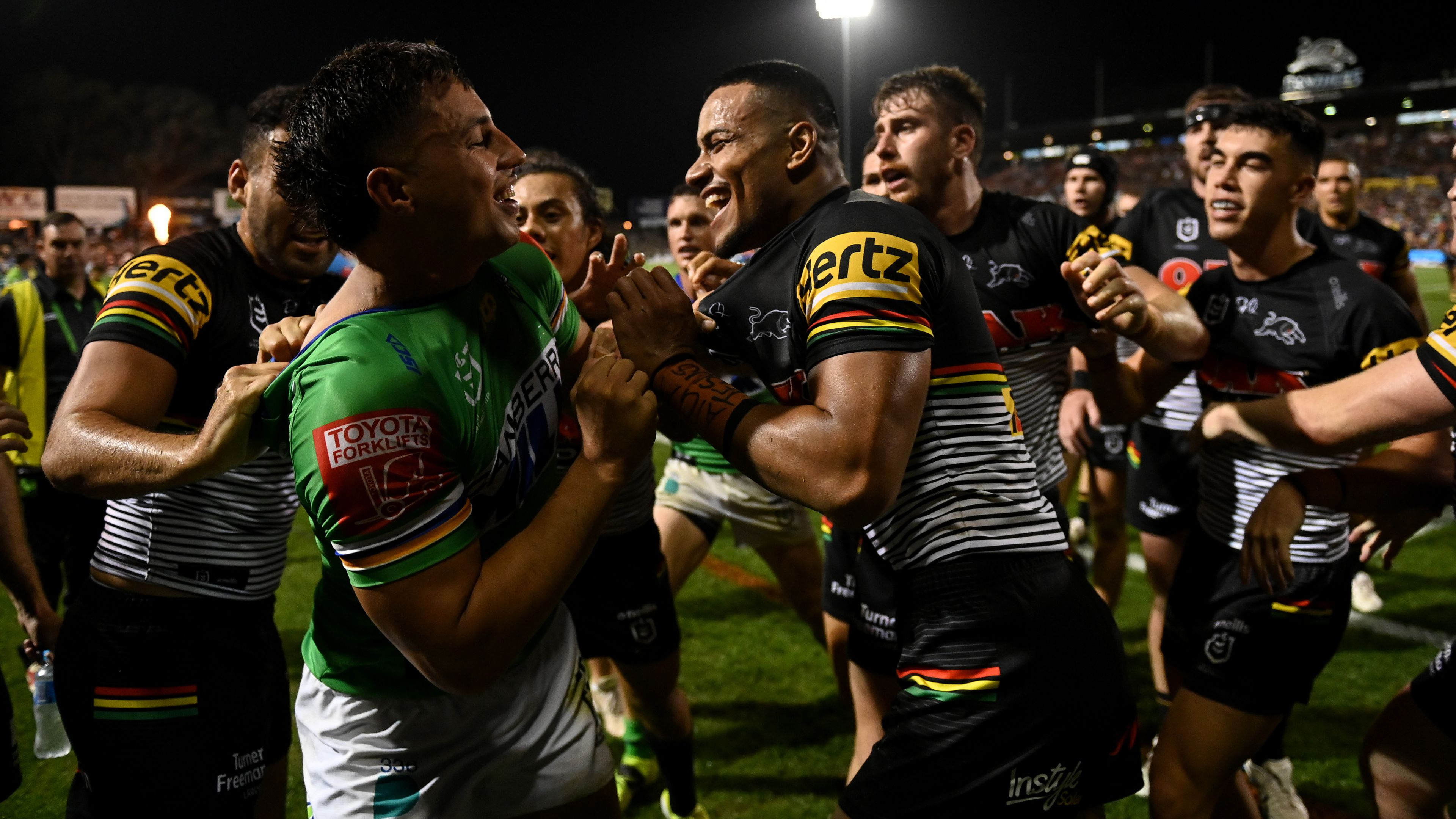 Stephen Crichton hit with contrary conduct charge after fiery showdown with Canberra Raiders