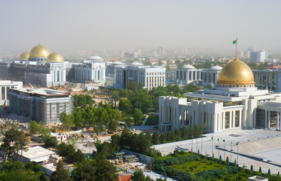 Ashgabat city with president palace in view