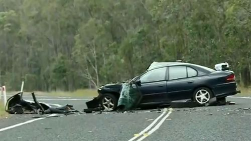 Three are dead after a Holden Commodore veered on to the wrong side of the road and hit oncoming traffic in Bundaberg.