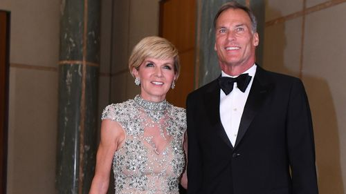 Then Australian Foreign Minister Julie Bishop and partner David Panton at last year's Mid-Winter Ball.