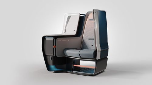 There's an airy, spacious, futuristic seat coming to business class, with all-new scientifically engineered structures and materials borrowed from Formula 1 cars.