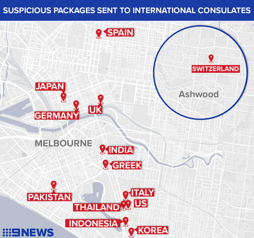 Suspicious packages were sent to a number of Consulates across Melbourne.