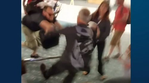 Heated argument continues outside airport terminal (ABC AMERICA)