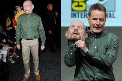 Bryan Cranston wore a mask of himself to the <i>Breaking Bad</i> panel. Freaky!<br/><br/>Images: Getty