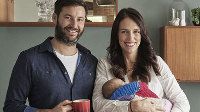 Clarke Gayford and Jacinda Ardern with baby Neve