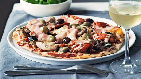 Ham and antipasto pizza