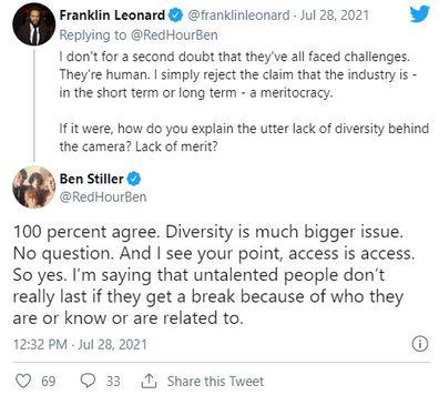 Ben Stiller denies Hollywood nepotism in Twitter debate.