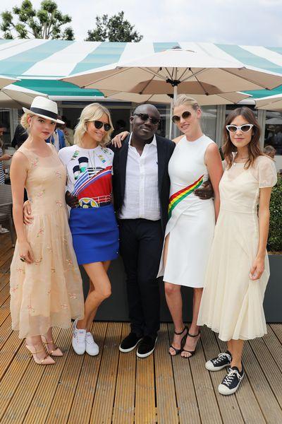 Anya Taylor-Joy, Poppy Delevingne, Lara Stone, Alexa Chung and British Vogue editor Edward Enninful at Wimbledon 2018
