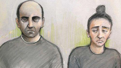 A courtroom sketch of Ouissem Medouni and Sabrina Kouider. (Elizabeth Cook/PA)