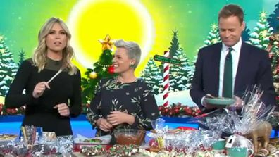 Lara Vella, Jane de Graaff and Tom Steinfort make Christmas treats
