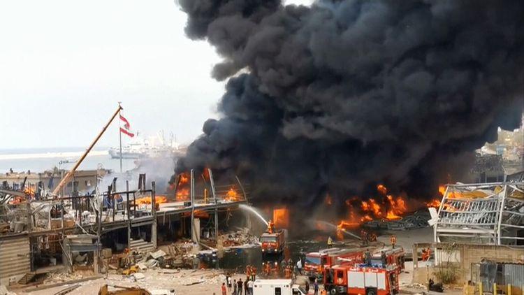 Massive fire breaks out in Beirut port one month after devastating blast
