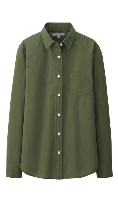 "<p><a href=""http://www.uniqlo.com/au/"" target=""_blank"">Cotton Longsleeve Shirt, $39.90, Uniqlo</a></p>"