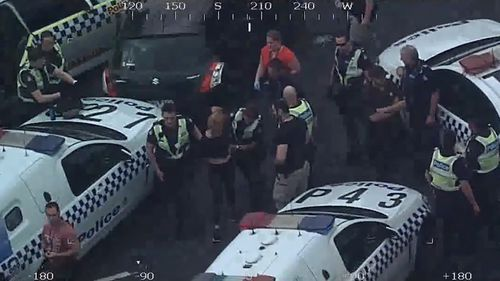 The female driver has been arrested and is now being questioned by police. (Victoria Police)
