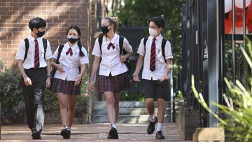 Students of Cammeryagal High School in Crows Nest Sydney return to classes.