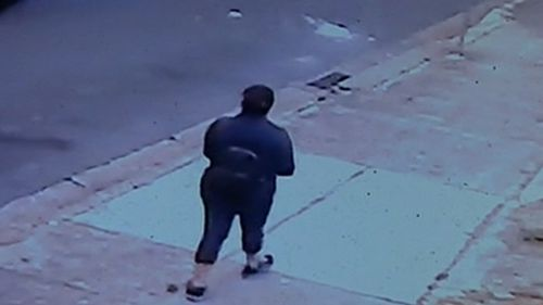 She is seen here on CCTV walking home from work last night.