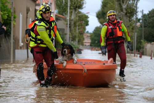 Officials said up to seven months of rain fell in just a few hours around France's Aude region, causing flash flooding.