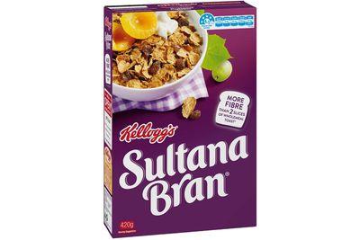 Sultana Bran: 19.2g sugar per 45g serve (with milk)
