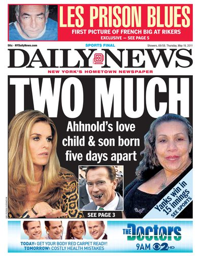 Maria Shriver, Arnold Schwarzenegger and Mildred Baena on the cover of Daily News.