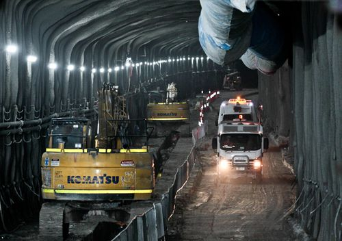 The new stretch of tunnel between Concord and Haberfield, part of the WestConnex project in Sydney. (AAP)