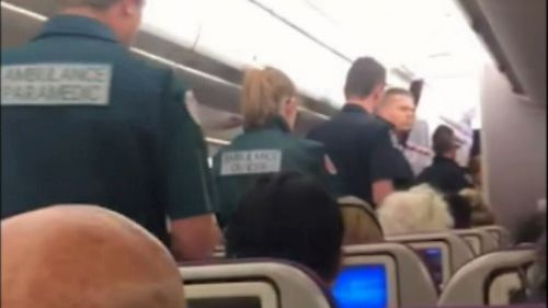 A passenger has told 9NEWS somebody on board removed with a medical emergency.